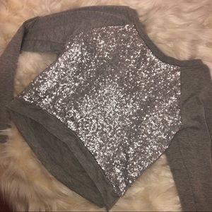 Women's Silver Sequin Crop Top